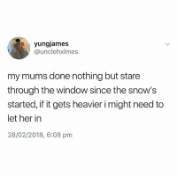 British, Her, and Window: yungjames  @unclehxlmes  my mums done nothing but stare  through the window since the snow's  started, if it gets heavier i might need to  let her in  28/02/2018, 6:08 pm Dead😂