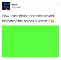 Wow, Avatar, and Dank Memes: Yuno  @Sharki  Wow I can't believe someone leaked  the behind the scenes of Avatar 2