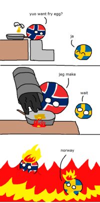 Norway fries an egg http://country-balls.com/norway-fries-an-egg/  #CountryBalls #NorwayBall, #SwedenBall: yuo want fry egg?  Ja  jeg make  wait  norway Norway fries an egg http://country-balls.com/norway-fries-an-egg/  #CountryBalls #NorwayBall, #SwedenBall