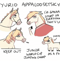 OKAY SINCE ALL OF U GUYS ASKED...HERE'S YURIO AS A PONY EDIT: Please don't repost this at all ok guys. this was a thing I did for fun haha yurionice yurioplisetsky yuriplisetsky ponies showjumping randomsplashes: YURIO APPALODSETSky  I'm GONNA  STOMP ON  EVERY THIN  THAT V LC  INNOC  JUNIOR  KEEP OUT  WORLD CUP AS A  fo  JUMPIN CHAMP OKAY SINCE ALL OF U GUYS ASKED...HERE'S YURIO AS A PONY EDIT: Please don't repost this at all ok guys. this was a thing I did for fun haha yurionice yurioplisetsky yuriplisetsky ponies showjumping randomsplashes