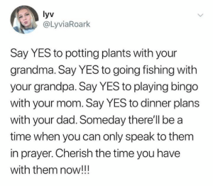 Dad, Dank, and Fam: yv  @LyviaRoark  Say YES to potting plants with your  grandma. Say YES to going fishing with  your grandpa. Say YES to playing bingo  with your mom. Say YES to dinner plans  with your dad. Someday there'll be a  time when you can only speak to them  in prayer. Cherish the time you have  with them now!!! Spend time with the fam.