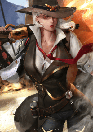 Tumblr, Blog, and Game: Z UM  D R  W S rarts:    Ashe (Elizabeth Caledonia): Overwatch game fan art  [Artist: Zumi (zumidraws)]