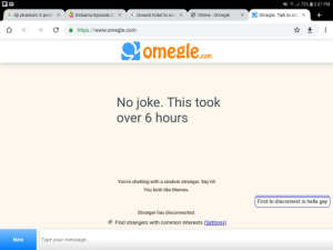 Memes, Omegle, and Reddit: Z172% 5:37 PM  G dji phantom 3 profe X  Gintama Episode 03 X  G closest hotel to area X  Online-Omegle  +  Omegle: Talk to stra X  https://www.omegle.com  omegle.com  No joke. This took  over 6 hours  You're chatting with a random stranger. Say hi!  You both like Memes.  First to disconnect is hella gay  Stranger has disconnected.  Find strangers with common interests (Settings)  New  Type your message... This took way too long than it should've