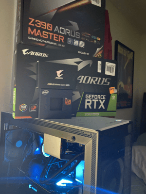 Little early Christmas gift to me. I don't have time this week to properly cable manage with finals at Ohio State, but I'll post a pic of the rig once the cables aren't a jumbled mess: Z398 AORUS  MASTER E0  GAMING MOTHERBOARD LGA 151  GIGABYTE  CAORUS  4DRUS  AORUS  ADRUS NVMe Gen4 SSD  intel)  GEFORCE  RTX  E19  RGB  2080 Super  anmurRCE  155  I1  OROA  20.  a CORE Little early Christmas gift to me. I don't have time this week to properly cable manage with finals at Ohio State, but I'll post a pic of the rig once the cables aren't a jumbled mess
