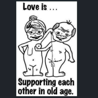 This will soon be us @wotgrindsmygears 😆😜: Love is  Supporting each  other in old age. This will soon be us @wotgrindsmygears 😆😜