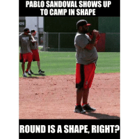 """Pablo Sandoval showed up to RedSox camp in """"shape"""": PABLO SANDOVAL SHOWS UP  TO CAMPIN SHAPE  OS  ROUND IS A SHAPE, RIGHT Pablo Sandoval showed up to RedSox camp in """"shape"""""""