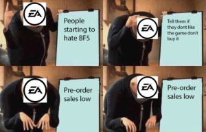 The Game, Game, and Sales: ZA  People  starting to  hate BF5  Tell them if  they dont like  the game don't  buy it  ZA  FA)Pre-order  sales low  Pre-order  sales low EA right now.
