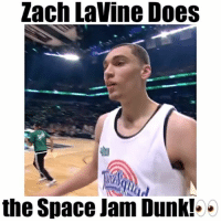 """This man is insane!🙌🏼 - Comment """"dunk"""" letter by letter! - Follow @floaters for more!: Zach Lavine Does  the Space Jam Dunk!.. This man is insane!🙌🏼 - Comment """"dunk"""" letter by letter! - Follow @floaters for more!"""