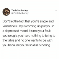 Happy Sunday!!! 😘😘: Zach Svobodny  @ZachSvobodny  Don't let the fact that you're single and  Valentine's Day is coming up put you in  a depressed mood.It's not your fault  you're ugly, you have nothing to bring to  the table and no one wants to be with  you because you're so dull & boring Happy Sunday!!! 😘😘