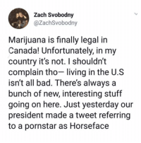 Bad, Funny, and Canada: Zach Svobodny  @ZachSvobodny  Marijuana is finally legal in  Canada! Unfortunately, in my  country it's not. I shouldn't  complain tho- living in the U.S  isnt all bad. There's always a  bunch of new, interesting stuff  going on here. Just yesterday our  president made a tweet referring  to a pornstar as Horseface Don't take it for granted people.