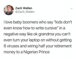 "Nigerians: Zach Wallen  @Zach Wallen  I love baby boomers who say ""kids don't  even know how to write cursive"" in a  negative way like ok grandma you can't  even turn your laptop on without getting  6 viruses and wiring half your retirement  money to a Nigerian Prince"