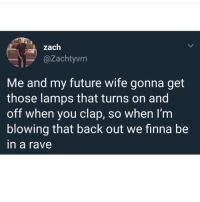 Future, Rave, and Wife: zach  @Zachtyvm  Me and my future wife gonna get  those lamps that turns on and  off when you clap, so when I'nm  blowing that back out we finna be  in a rave Who said romance is dead?