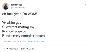 "Complex, Iphone, and Police: Zachary  @1 Lumberzack  oh fuck yeah I'm WOKE  W- white guy  0- overestimating my  K- knowledge on  E- extremely complex issues  10:03 PM Jul 15, 2019 Twitter for iPhone  17.3K Retweets  118.3K Likes ""Your son was brutally murdered by the police, I was told my chicken is unseasoned, we're basically the exact same."""