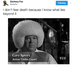 Expert: Zachary Fox  Following  @zackfox  I don't fear death because l know what lies  beyond it  Gary Spivey  Anime Tiddies Expert  TL C