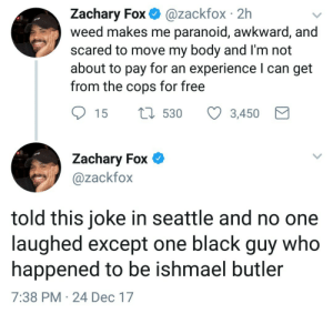 Weed, Awkward, and Black: Zachary Fox @zackfox 2h  weed makes me paranoid, awkward, and  scared to move my body and I'm not  about to pay for an experience l can get  from the cops for free  Zachary Fox *  @zackfox  told this joke in seattle and no one  laughed except one black guy who  happened to be ishmael butler  7:38 PM 24 Dec 17 Dangerous side effects of marijuana