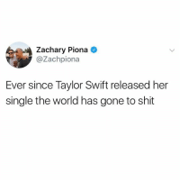 Memes, Shit, and Taylor Swift: Zachary Piona  @Zachpiona  Ever since Taylor Swift released her  single the world has gone to shit makes u think