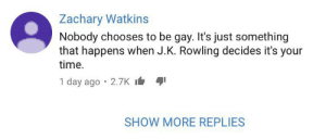 Time, J. K. Rowling, and Irl: Zachary Watkins  Nobody chooses to be gay. It's just something  that happens when J.K. Rowling decides it's your  time  1 day ago 2.7K  SHOW MORE REPLIES Me_irl