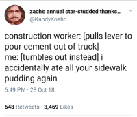 Star, Construction, and Cement: zach's annual star-studded thanks...  @KandyKoehn  construction worker: [pulls lever to  pour cement out of truck]  me: [tumbles out instead] i  accidentally ate all your sidewalk  pudding again  6:49 PM 28 Oct 18  648 Retweets 3,469 Likes Cement