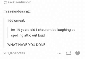 Omg, Tumblr, and Http: zackisontumblr  miss-nerdgasmz:  tiddiemeat:  Im 19 years old I shouldnt be laughing at  spelling attic out loud  WHAT HAVE YOU DONE  201,879 notes What do you see? Attic.omg-humor.tumblr.com