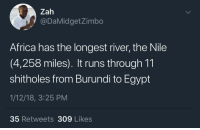 Africa, Blackpeopletwitter, and Facts: Zah  @DaMidgetZimbo  Africa has the longest river, the Nile  (4,258 miles). It runs through 11  shitholes from Burundi to Egypt  1/12/18, 3:25 PM  35 Retweets 309 Likes <p>Facts (via /r/BlackPeopleTwitter)</p>