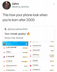 HDJSKJSJA IM 1999 THANK GOD MY PHONE ISNT LIKE THIS: Zahra  @sahra_dutchy  This how your phone look when  you're born after 2000  S. @shanzakhanSAK  Your streak goals//  Show this thread  155  .ill Zong令  11:42 PM  @イ90% =). +  Delivered Sm ago  Q Chat  Bushra Fazal  Delivered 6m ago  145凸凹  凸BESTFRIENDV  Delivered 54s ago  438  Zainab Mir  128  Delivered 7m ago  Zahra s  Delivered 10m ago  LOML  434凸  Delivered 58s ago  111八  凸Zarmeene  Tap to view-1m ago  424凸  Opened 8m ago  Opened 1m ago  良Anum.kamrang  Delivered 2m ago  36  253A ■ Areena  ap to view 16m ago  Aqsa Kamran  Musfirah C.  33A6 HDJSKJSJA IM 1999 THANK GOD MY PHONE ISNT LIKE THIS
