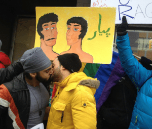 Love, Muslim, and Protest: zaildaaar:  queermenofcolorinlove: Showing some brown boy love at a protest against India's Supreme Court ruling reinstating the criminalization of homosexuality! This is especially important given that the person in the leather jacket is a Sikh of Indian descent while the person in yellow is a Muslim of Pakistani descent.