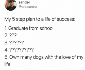 How y'all doing this? 🤔: zander  alezander  My 5 step plan to a life of success:  1. Graduate from school  2.???  5. Own many dogs with the love of my  life How y'all doing this? 🤔