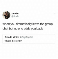 Group Chat, Memes, and Chat: zander  @finah  when you dramatically leave the group  chat but no one adds you back  Brenda White @BeyCapital  what's betrayal? Betrayal in it's purest form