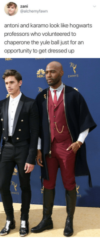 emmys: zani  @alchemyfawn  antoni and karamo look like hogwarts  professors who volunteered to  chaperone the yule ball just for an  opportunity to get dressed up   NBC  MPT  NBC  EMMYS  BC  MMYS  卜  MYS
