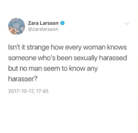 Zara, Been, and How: Zara Larsson  @zaralarsson  Isn't it strange how every woman knows  someone who's been sexually harassed  but no man seem to know any  harasser?  2017-10-17, 17:45