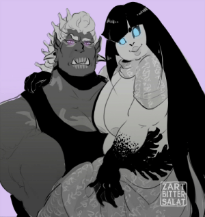 zartbitter-salat:    31 Days of Orc Women for Orctober Day 8: An orc woman with her significant other! Osar carries Maryn around all the time, because, well, her woman has a fish tail and outside of the water she needs a little help.: ZART  CBITTER  SALAT  క zartbitter-salat:    31 Days of Orc Women for Orctober Day 8: An orc woman with her significant other! Osar carries Maryn around all the time, because, well, her woman has a fish tail and outside of the water she needs a little help.