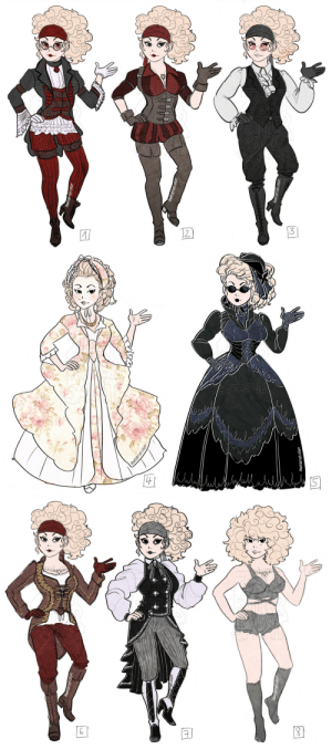 zartbitter-salat:  Elio's outfits' designs! Was plenty of work but also lots of fun :'D I want her style to be influenced by victorian goth and steampunk elements. (No. 4 is what she was wearing before her pirate life): zartbitter-salat:  Elio's outfits' designs! Was plenty of work but also lots of fun :'D I want her style to be influenced by victorian goth and steampunk elements. (No. 4 is what she was wearing before her pirate life)