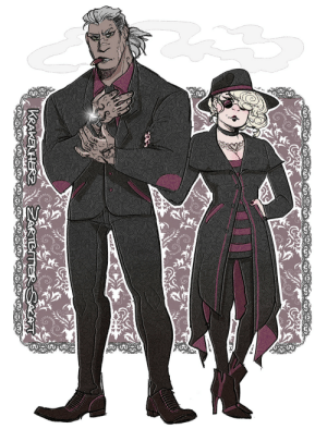 zartbitter-salat:  I wanted to draw Rhona and Elio in modern festive attire but now they look like mafia lesbians haha   ¯\_(ツ)_/¯  I love dress ups.: zartbitter-salat:  I wanted to draw Rhona and Elio in modern festive attire but now they look like mafia lesbians haha   ¯\_(ツ)_/¯  I love dress ups.