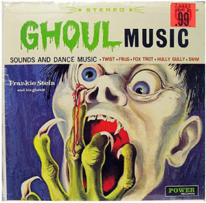 gully: ZAYRE  DEPT 43 0  STEREO  99  GHOUL MUSIC  SOUNDS AND DANCE MUSIC TWIST FRUG FOX TROT HULLY GULLY.SWIM  Frankie Stein  and his ghouis  POWER  RECORDE
