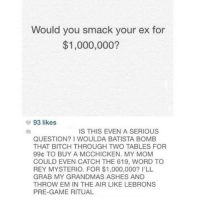Ash, Bitch, and Ex's: Would you smack your ex for  $1,000,000?  93 likes  IS THIS EVEN A SERIOUS  QUESTION? I WOULDA BATISTA BOMB  THAT BITCH THROUGH TWO TABLES FOR  99G TO BUY A MCCHICKEN. MY MOM  COULD EVEN CATCH THE 619, WORD TO  REY MYSTERIO. FOR $1,000,000? I'LL  GRAB MY GRANDMAS ASHES AND  THROW EM IN THE AIR LIKE LEBRONS  PRE-GAME RITUAL
