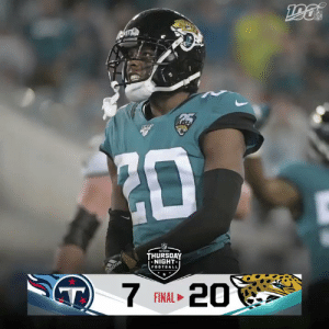 FINAL: @Jaguars defense racks up 9 sacks and @GardnerMinshew5 throws two TDs on #TNF! #DUUUVAL #TENvsJAX  (by @Lexus) https://t.co/bQUcI8N0Mr: ZD  THURSOAY  NIGHT  FOOTBALL  didas  T)  7  20  FINAL FINAL: @Jaguars defense racks up 9 sacks and @GardnerMinshew5 throws two TDs on #TNF! #DUUUVAL #TENvsJAX  (by @Lexus) https://t.co/bQUcI8N0Mr