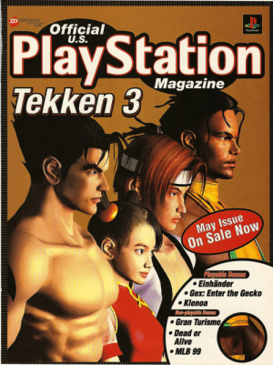 davis: ZD ZIFF DAVIS  a SOFTBANK  company  Official  U.S.  PlayStation  Tekken 3  PlayStation  Magazine  May Issue  On Sale Now  Playable Demos  Einhänder  Gex: Enter the Gecko  Klonoa  Non-playable Demos  Gran Turismo  Dead or  Alive  MLB 99