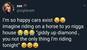 """Cars, Dank, and Memes: zee  @sighbrattt  I'm so happy cars exist  imagine riding on a horse to yo nigga  house  you not the only thing I'm riding  tonight""""  giddy up diamond Now this is cowgirl position by ruggedburn MORE MEMES"""