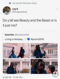 Blackpeopletwitter, Beauty and the Beast, and Time: zel and Bri Martinez liked  zay W  / @thagoodzay  Do y all see Beauty and the Beast or is  it just me?  boochie @luvboochie  Living a fantasy  #prom2018  4/26/18, 11:59 PM <p>Tale as old as time (via /r/BlackPeopleTwitter)</p>