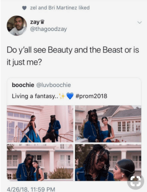 Beauty and the Beast, Time, and Old: zel and Bri Martinez liked  zay W  / @thagoodzay  Do y all see Beauty and the Beast or is  it just me?  boochie @luvboochie  Living a fantasy  #prom2018  4/26/18, 11:59 PM Tale as old as time