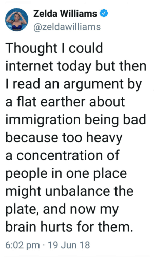 writing-prompt-s:  10/10 prompt material right here : Zelda Williams  @zeldawilliams  Thought l could  internet today but then  I read an argument by  a flat earther about  immigration being bad  because too heavy  a concentration of  people in one place  might unbalance the  plate, and now my  brain hurts for them  6:02 pm 19 Jun 18 writing-prompt-s:  10/10 prompt material right here