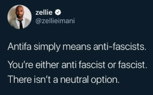 Dank, Memes, and Target: zellie  @zellieimani  Antifa simply means anti-fascists.  You're either anti fascist or fascist.  There isn't a neutral option. Neutrality helps the oppressor, never the victim. Silence encourages the tormentor, never the tormented. Sometimes we must interfere by 2DeadMoose MORE MEMES