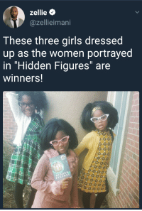 """<p>Winners of Halloween (via /r/BlackPeopleTwitter)</p>: zellie  @zellieimani  These three girls dressed  up as the women portrayed  in """"Hidden Figures"""" are  winners!  HIDDEN  FIGURES <p>Winners of Halloween (via /r/BlackPeopleTwitter)</p>"""
