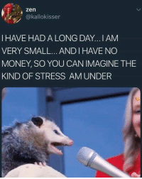 Money, Quite, and Relatable: zen  @kallokisser  I HAVE HAD A LONG DAY...I AM  VERY SMALL... ANDI HAVE NO  MONEY, SO YOU CAN IMAGINE THE  KIND OF STRESS AM UNDER Quite relatable