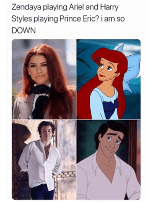 I'd watch it: Zendaya playing Ariel and Harry  Styles playing Prince Eric? i  DOWN I'd watch it