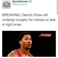 This nigga should jus retire if he's jus going to keep getting injured every season.: SportsCenter  SSO @SportsCenter  BREAKING: Derrick Rose will  undergo surgery for meniscus tear  in right knee  BREAKIN  EW This nigga should jus retire if he's jus going to keep getting injured every season.