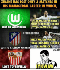 If you know what I mean.....😏😂 Follow @memes.futbal: ZIDANE HAS LOST ONLY 3 MATCHES IN  HIS MANAGERIAL CAREER IN WHICH,  NEXT MATCH AGAINST  THEM RONALDO SCORED  LOST TO WOLFSBURG  A HATTRICK,  Troll Football  NEXT MATCH AGAINST  THEM, RONALDO SCORED  A HATTRICK.  LOST TO ATLETICO MADRID  HAZR  LOST TO SEVILLA  IYKWIM If you know what I mean.....😏😂 Follow @memes.futbal
