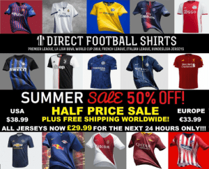 Football, Premier League, and Soccer: ziGgo  Fly  mirat  FIV  Rakuten  Emirares  I DIRECT FOOTBALL SHIRTS  PREMIER LEAGUE, LA LIGA BBVA, WORLD CUP 2018, FRENCH LEAGUE, ITALIAN LEAGUE, BUNDESLIGA JERSEYS  AB  Standard  Chartered  Ht  YOKOHAMA  TYRES  eep  AIRS  REL  SUMMER SaLE 50% OFF!  HALF PRICE SALE EUROPE  USA  $38.99 PLUS FREE SHIPPING WORLDWIDE! 33.99  ALL JERSEYS NOW £29.99 FOR THE NEXT 24 HOURS ONLY!!!  QAT  MRWAYS  ade  PI  EDCOM Guys CHECK this out! Direct Football Shirts are offering a 🔥 MASSIVE 50% OF ALL their Football Jerseys for the Next 24 HOURS ONLY!!! Get Now👉 https://t.co/Qyr4YvEkBE. Limited Stock available on all item, so get before they all go! FREE DELIVERY WORLDWIDE 🌍 https://t.co/1XZTMjE2Yc