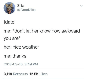 nice weather by EarlyHemisphere FOLLOW 4 MORE MEMES.: Zilla  @GoodZilla  [date]  me: *don't let her know how awkward  you are*  her: nice weather  me: thanks  2018-03-16, 3:49 PM  3,119 Retweets 12.5K Likes nice weather by EarlyHemisphere FOLLOW 4 MORE MEMES.