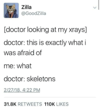 """Doctor, Memes, and Http: Zilla  @GoodZilla  [doctor looking at my xrays]  doctor: this is exactly what i  was afraid of  me: what  doctor: skeletons  2/27/18,4:22 PM  31.8K RETWEETS 110K LIKES <p>spooky scary via /r/memes <a href=""""http://ift.tt/2t53Dws"""">http://ift.tt/2t53Dws</a></p>"""
